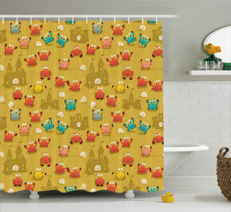 Crab Shell Sand Castle Shower Curtain