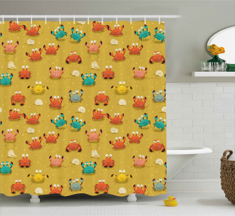 Star and Shells Pattern Shower Curtain