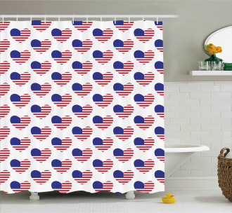 Heart Shaped Flags Shower Curtain