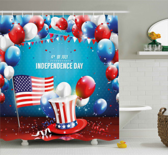 Uncle Sam Hat Flag Shower Curtain