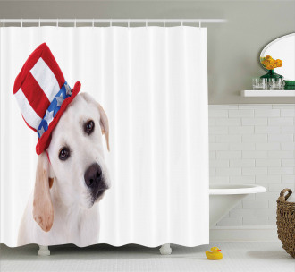 Cute Dog with Hat Shower Curtain