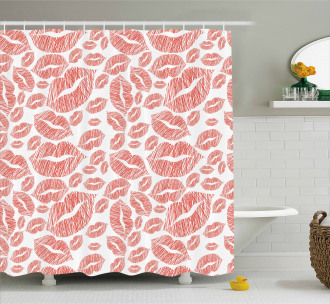 Hot Retro Lady Lips Shower Curtain