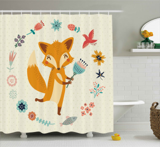 Cute Animal with Floral Shower Curtain