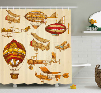 Vintage Baloons Planes Shower Curtain