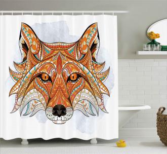 Geometric Fox Portrait Shower Curtain