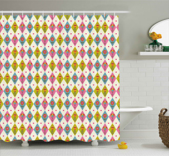 Geometric Tulips Pattern Shower Curtain