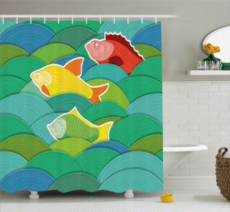 Sea Marine Waves Funky Shower Curtain