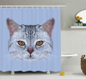Scottish Hipster Kitty Pet Shower Curtain