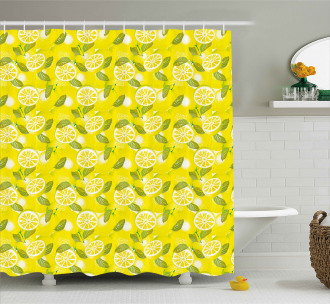 Fresh Lemons with Leaves Shower Curtain