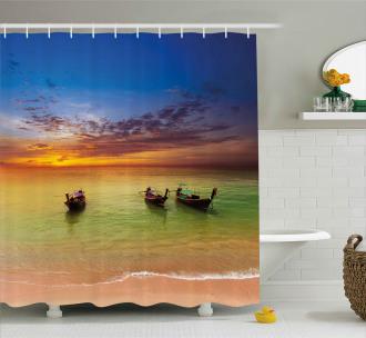Thailand Boat in Ocean Shower Curtain