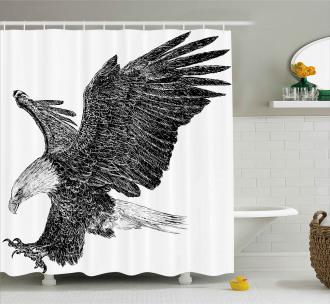 Bald Eagle Swoop Sketchy Shower Curtain