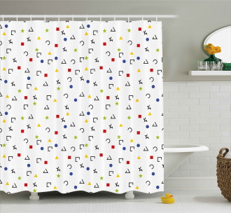 Square Star Circle Dots Shower Curtain