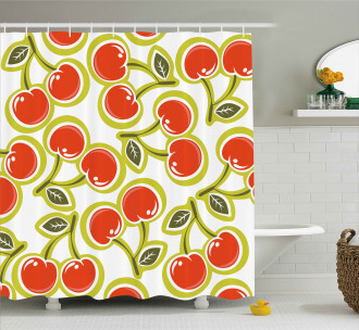 Cherry and Leaves Pattern Shower Curtain