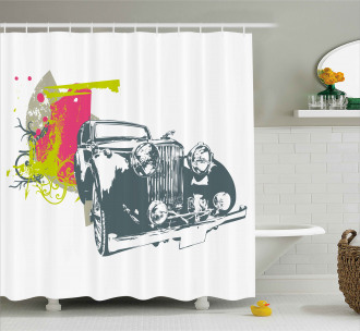 Retro Pop Classic Car Shower Curtain