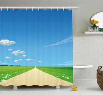 Sunny Sky Clouds Daisy Shower Curtain