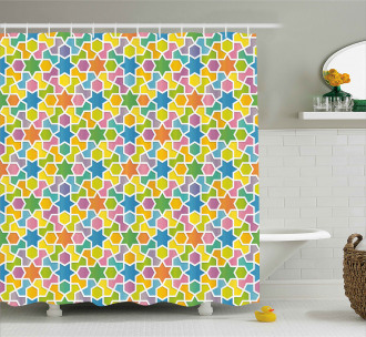 Star and Fractal Shape Shower Curtain