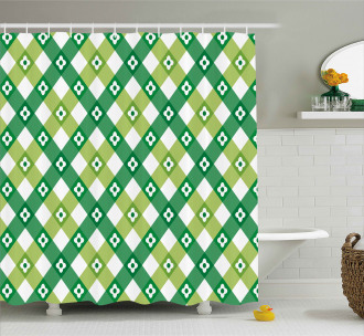 Striped Retro Old Motif Shower Curtain
