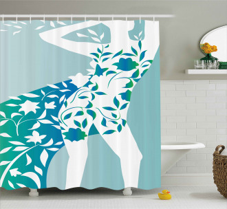 Girl Flower Petal Leaves Shower Curtain
