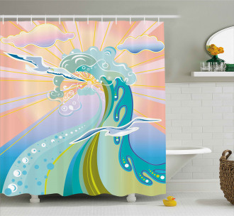 Cartoon like Waves Shower Curtain