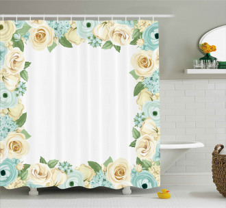 Flower Roses Leaves Shower Curtain