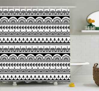 Ethnic Borders with Leaf Shower Curtain