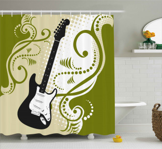 Electric Bass Guitar Shower Curtain