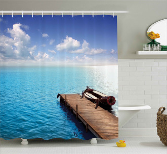 Wooden Deck on a Lake Shower Curtain