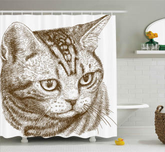 Portrait of a Kitty Hipster Shower Curtain