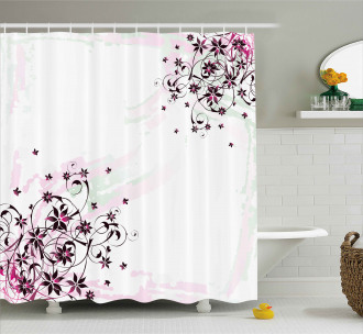 Grunge Flower Motif Leaf Shower Curtain
