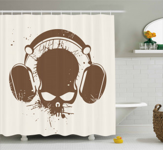 DJ Grunge Retro Skull Shower Curtain