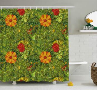 Fractal Retro Jungle Art Shower Curtain