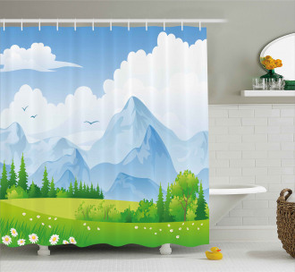 Summer Meadow with Daisy Shower Curtain