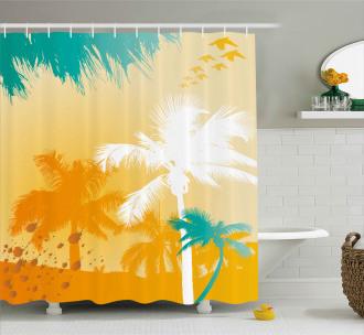 Funky Retro Vivid Palms Shower Curtain