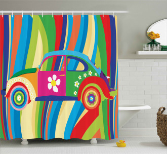 Hippie Style Classic Car Shower Curtain