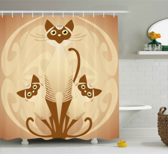 Three Asian Siamese Cats Shower Curtain