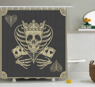 Vector Skull Poker Cards Shower Curtain