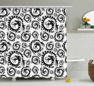 Antique Chinese Dragon Shower Curtain