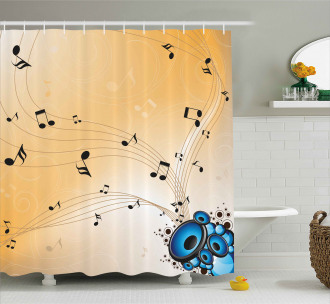 Abstract Melodies Notes Shower Curtain