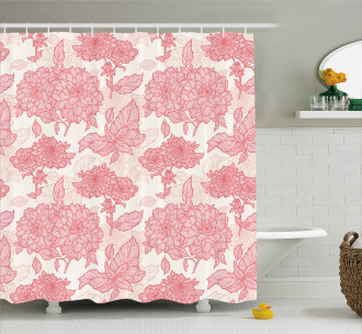 Pink Flowers and Leaves Shower Curtain