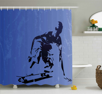 Abstract Vector Skaters Shower Curtain
