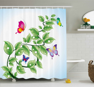 Floral Leaves Branches Shower Curtain