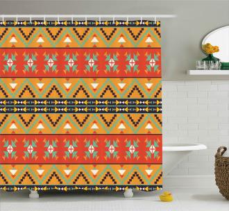 Tribal Aztec Motifs Shower Curtain