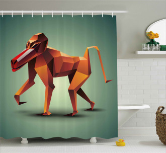 Polygonal Wild Monkey Shower Curtain