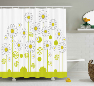 Daisises Flowers Garden Shower Curtain