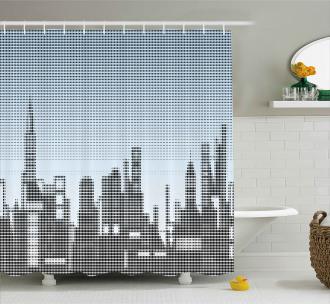 City Skyline Futuristic Shower Curtain