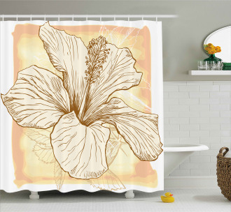 Large Hibiscus Flower Petals Shower Curtain