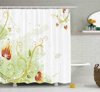 Retro Grunge Swirl Petal Shower Curtain