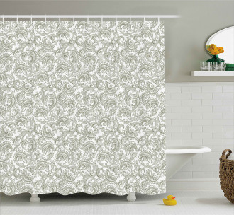 Damask with Ethnic Shower Curtain