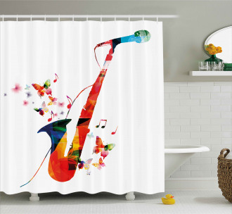 Butterfly Orchestra Jazz Shower Curtain