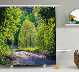 Path in Forest by Lake Shower Curtain